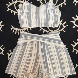 White & Blue Striped Set